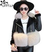 UHYTGF New Fashion Slim Winter Coat Women's Faux Wool Fur Coat splice Jacket Imitation fox Fur collar leather Warm Outerwear 939
