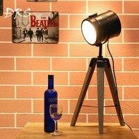 Simples horsten europeu do vintage retro madeira tripé lâmpada de mesa lâmpadas holofotes fotografia luzes suporte criativo sala estar|Luminárias de mesa| |  -