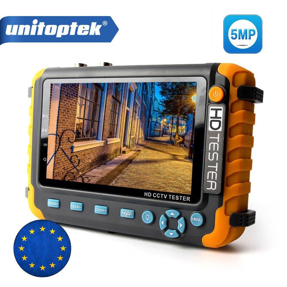5MP 4 en 1 AHD TVI CVI CVBS caméra CCTV testeur 5 pouces LCD moniteur intégré 18650 batterie caméra de sécurité testeur Audio RS485 Test