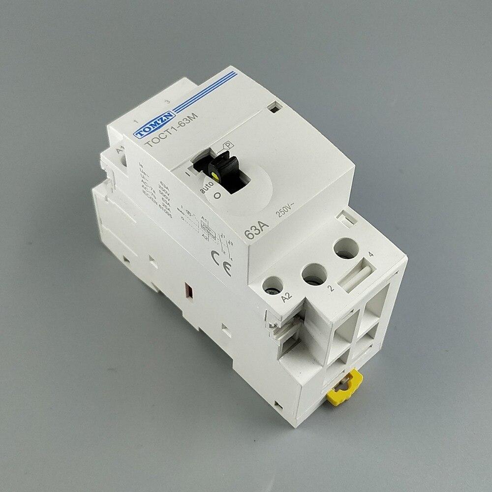 TOCT1 2 p 63A 220 v/230 v 50/60 hz su guida Din Per Uso Domestico ac Modulare contattore con interruttore di Comando manuale 2NO o 1NO 1NC o 2NC