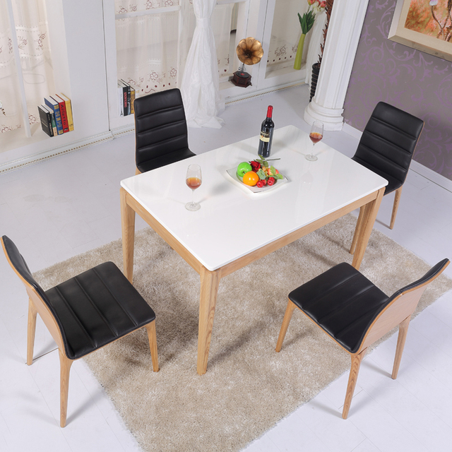 Nordic Korean Wood Marble Dining Table Small Apartment Solid Dinette Combination Of