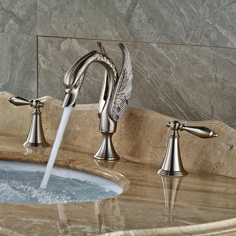 Elegant Swan Bathroom Basin Sink Faucet Widespread Dual Handles Hot and Cold Water Mixer Taps Brushed