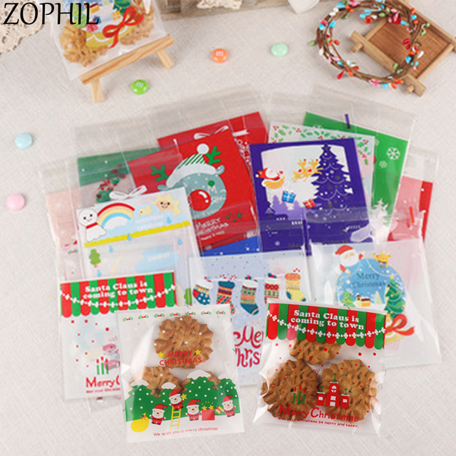 Christmas Gift Bags Diy.Us 3 0 20 Off Zophil 50pcs 10 10 Merry Christmas Decorations Self Adhesive Cartoon Opp Gifts Bags Diy Cookie Candy Bread Bag Xmas Party Favors In