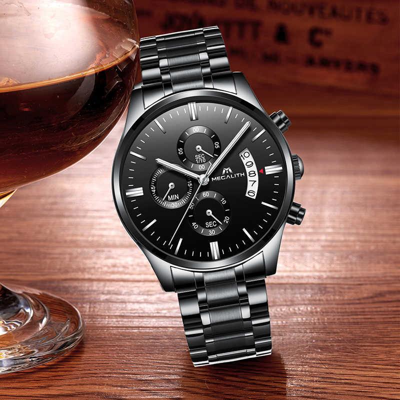 MEGALITH メンズ腕時計高級日付カレンダー Chronogra 男性ミリタリー防水スポーツ黒ステンレス鋼腕時計