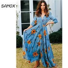 цены 2019 New Summer Maxi Dress Fashion Women Bohemian Style Sexy V-neck Button Long Sleeve Big Swing Dress
