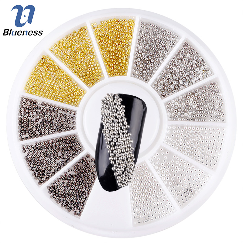 Blueness 1 Box Mix 4 Color Steels Beads Studs For Nails Metal Caviar Design Wheel Charms 3D Decorations Nail Art Supplies ZP314 blueness 1000 pcs s gold silver copper studs for nails glitter metal scrub design charms 3d decorations nail art pj495 521