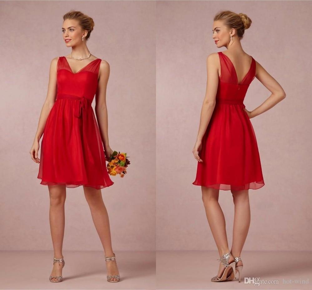 Corto Rojo de dama de Honor Vestidos de Cuello V Gasa Una Línea de ...
