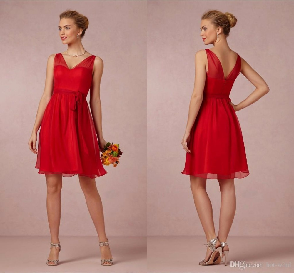 Short red bridesmaid dresses v neck chiffon a line wedding party short red bridesmaid dresses v neck chiffon a line wedding party gowns cheap formal plus size maid of honor dress be1 in bridesmaid dresses from weddings ombrellifo Image collections