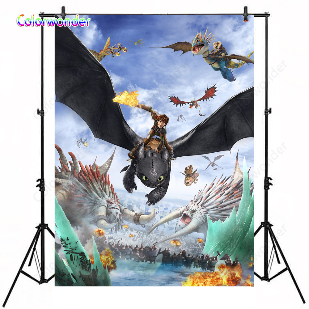How To Train Your Dragon 2 Movie Background Hiccup With Astric Combat Scene Backdrop For Children Boy Kid Birthday Party Banner