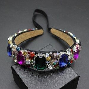 Image 4 - Perles à gemmes pour femmes vintage, bandeau à fleurs style baroque, bonne qualité, luxe, bijoux pour mariée, 609