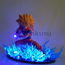Figuras de Ação De Dragon Ball Z Goku Super Saiyan 3 Blue Fire Luzes Da Noite Led Anime Dragon Ball Super Modelo Goku Brinquedo Estatueta DBZ(China)