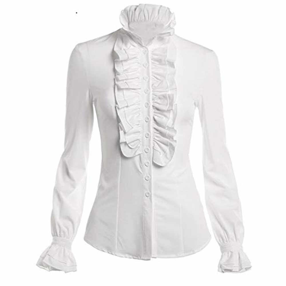 65e1986a523 Office White Stand Neck Ruffle Blouse Women Lace-up Solid Long Sleeve  Ruffled Collar Tie Shirt Top Blouse Elegant Work Shirt-16