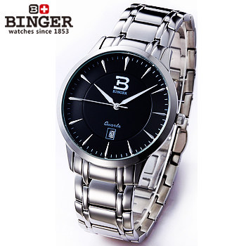 Здесь можно купить   Stainless Steel Gentlemen Mens Man Quartz Wristwatch Fashion Clock Binger Luxury Sport watches Women Switzerland Dress Watch Часы