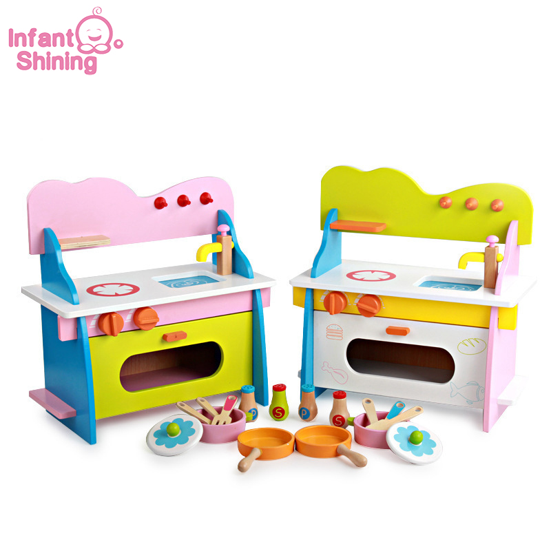 Infant Shining Kitchen Toys Set Wooden Kitchen Simulation Toy Children Play House Blocks Baby Educational Game Toy Sets