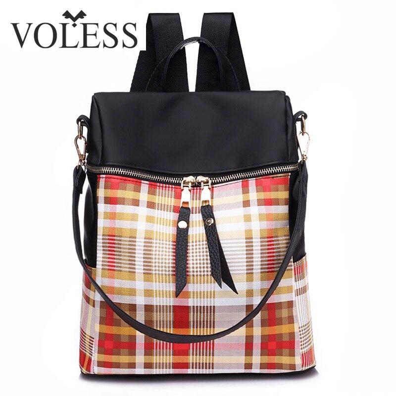 VOLESS 2018 New Female Bag Oxford Cloth Shoulder Bag Female Wave Fashion Wild Travel Canvas Lattice Backpack For Women