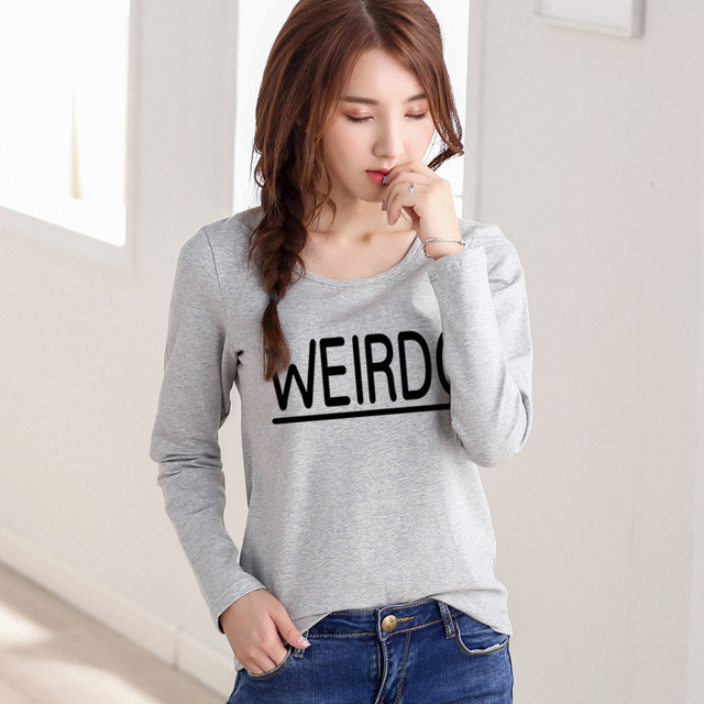 2016 Casual Style T Shirt Women WEIRDO Letter Print O-neck Autumn Tops T-shirt Long Sleeve Plus Size Graphic Tees Women Tshirt