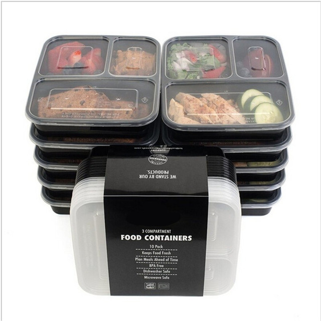 3 Compartment Plastic Food Storage Containers with Lids Microwave