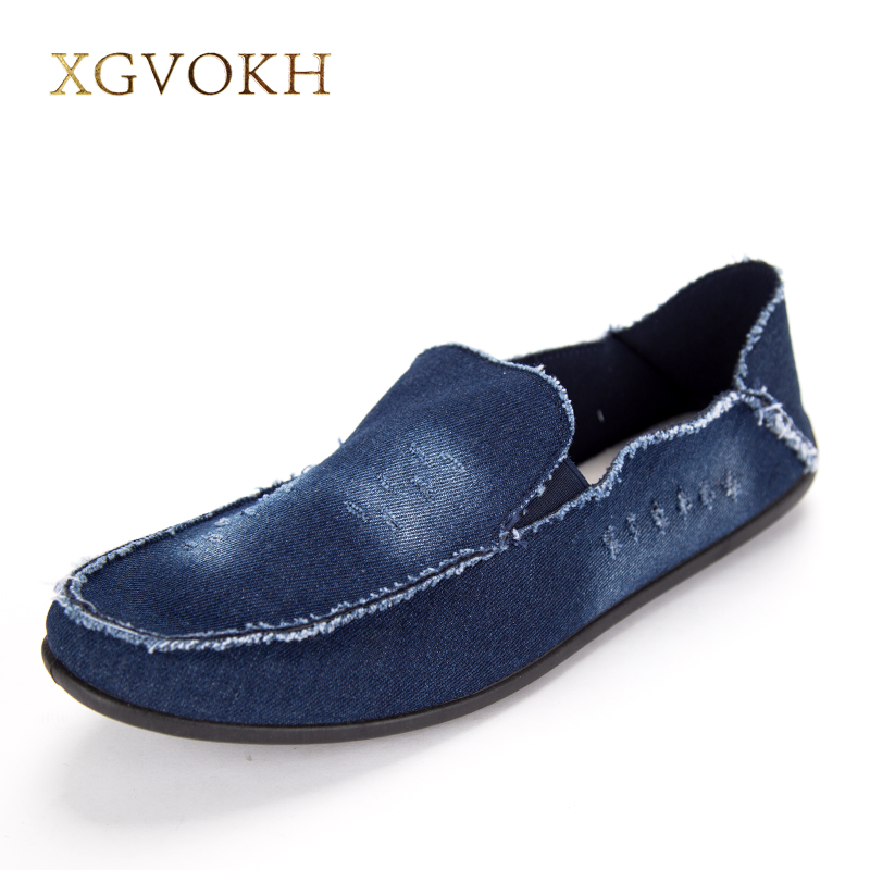 New 2017 Spring Summer Men Shoes Fashion Breathable Denim Shoes Slip On Mens Casual Shoes Men