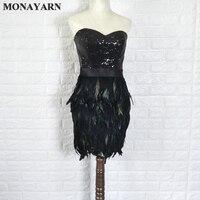 2016 sexy black dress Slim skirt real ostrich Tee short dress prom dress free shipping