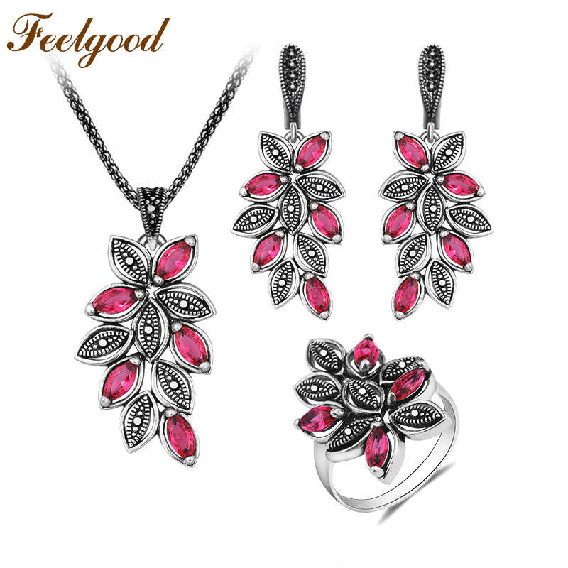 Feelgood Vintage Silver Color Leaf Jewelry Sets With Hot Pink Crystal For Women Individuality Antique Necklace Earrings Ring Set a suit of vintage flower leaf necklace and earrings for women