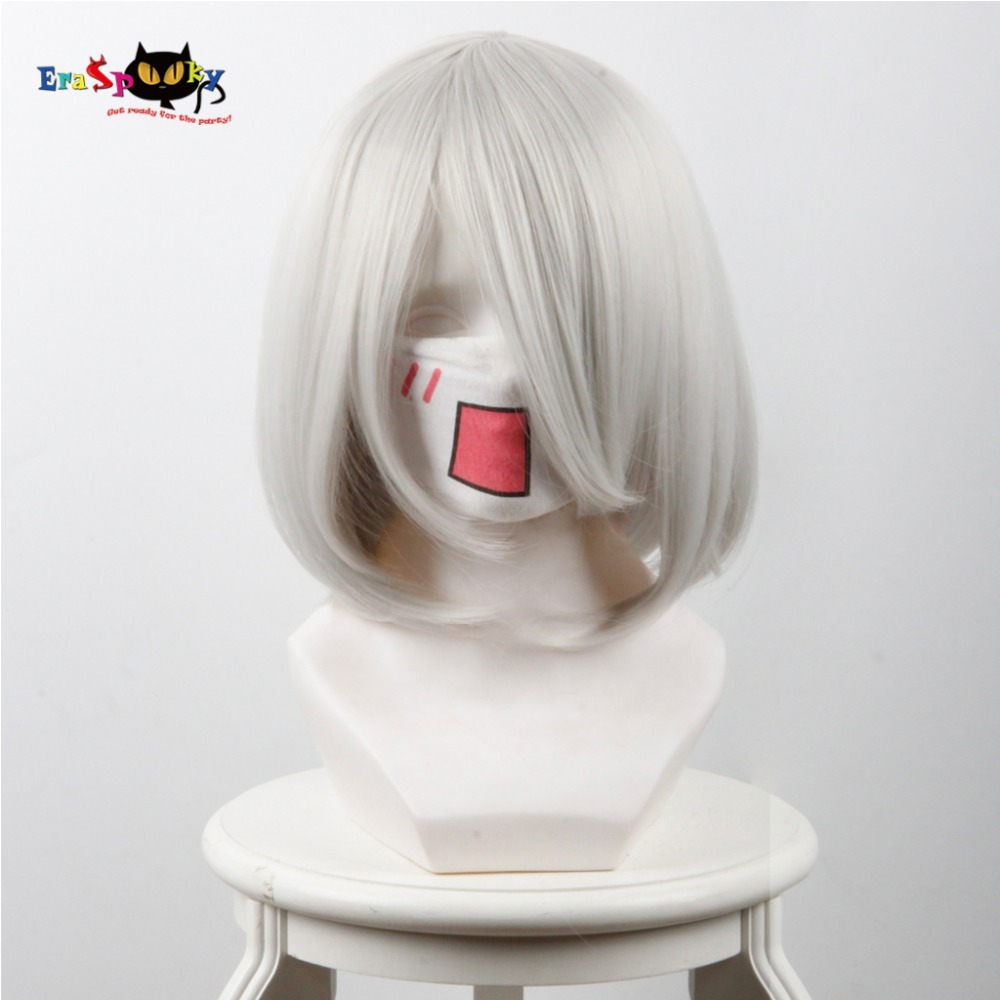 2B Cosplay Resistant Hair Cosplay NieR:Automata Japanese Game Headpiece Accessories Synthetic Straight White Hair