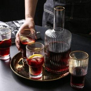 5 шт., в полоску, Золотая оправа, стеклянная чашка, бутылка для вина, виски и бренди, бокал для вина, большая емкость, чашка, бар, для отеля, для в...