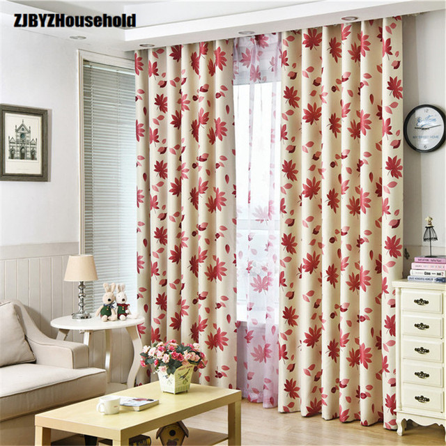 Black Silk Whole Shading Printing Curtain Fabric Red Maple Leaf ClothCurtains For
