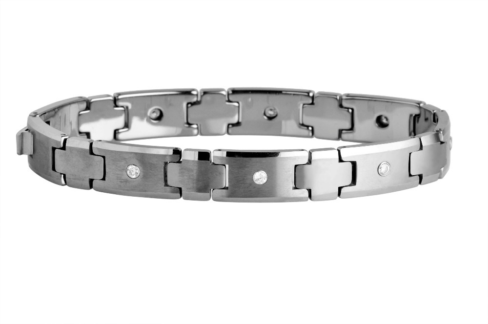 Present For birthday Brushed FinishTungsten Carbide with crystal stone Link Bracelets /TUBR0044M