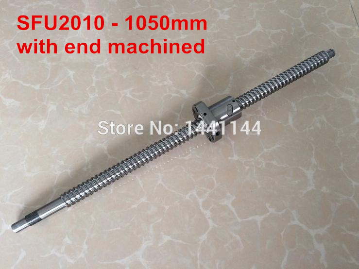 Ball screw SFU2010- 1050mm plus 1pcs RM2010 2010 Ballnut end machined