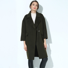 High Qualify Loose Wool Coat Women 2017 Autumn And Winter Warm Four Pockets Female Overcoats Casual Army Green Long Woolen Coats