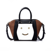 Leather Smiley Tote Bags Vintage Smile Face Handbags