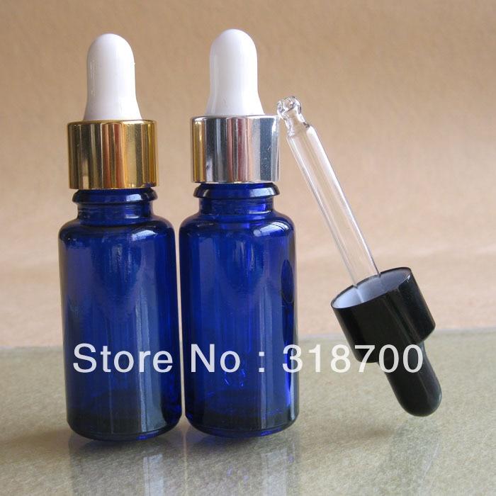 15 м пустое кобальтовое синее стекло эфирное масло бутылка с золотом серебряное вещество серебряный черный алюминиевый закрывающий Пипетка с белым держателем 200 шт