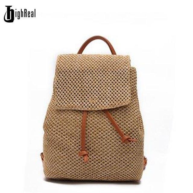 Tienda Online Highreal marca paja mochilas asas cubo crochet Beach ...