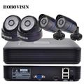 Kit Sistema de CCTV 4CH 720 P/960 P/1080 P IP CAMERA KIT 2.0 HDMI P2P ONVIF 4CH NVR + 2 PCS Bala CÂMERA IP + 2 pcs câmera DOME IP