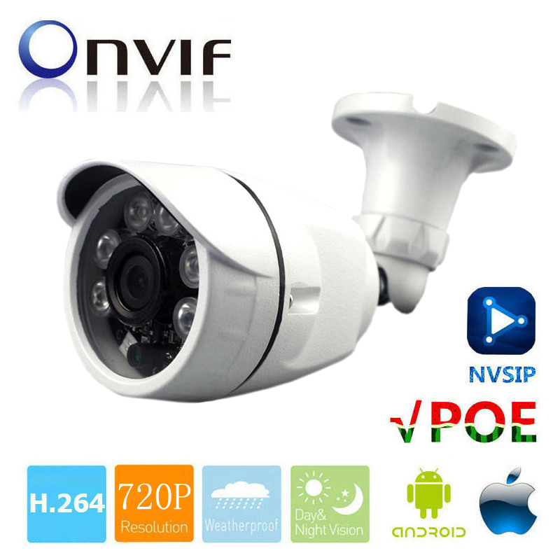 цены HD 720P 1.0MP CCTV Camera ONVIF Waterproof Outdoor IR CUT Night Vision P2P Plug and Play Mini Bullet POE IP Camera