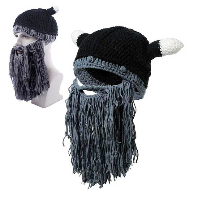 Men Winter Viking Hats Adult Funny Party Mask Beanies Beard Wig Hats  Handmade Knint Wool Ski Caps e26a7e49f25