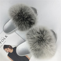 Silver Sole Real Fox Fur Slippers Female Slip Warm Furry Slippers Womans House Shoes Womens Slippers Indoor Fur Sandals Girls