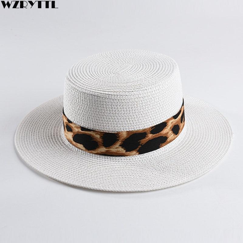 Unisex Paper Straw Hat Wide Brim Boater Hats Leopard Ribbon Sun Hat For Women Man Summer Beach Hat Kentucky Derby Cap Panama Hat