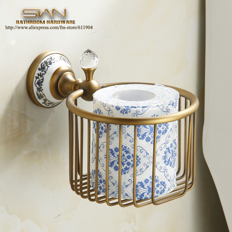 Free Shipping Vintage Copper Bathroom Accessaries Toliet Tissue Paper Basket Towel Roll Holder Chinese Luxury Style