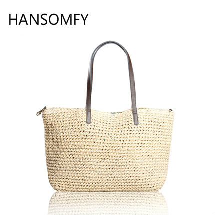 HANSOMFY |Fashion Hand Woven Bag Round Rattan Straw Bags Bohemia Style Beach Bag Summer Shoulder Bag Handbag pandect x 1100