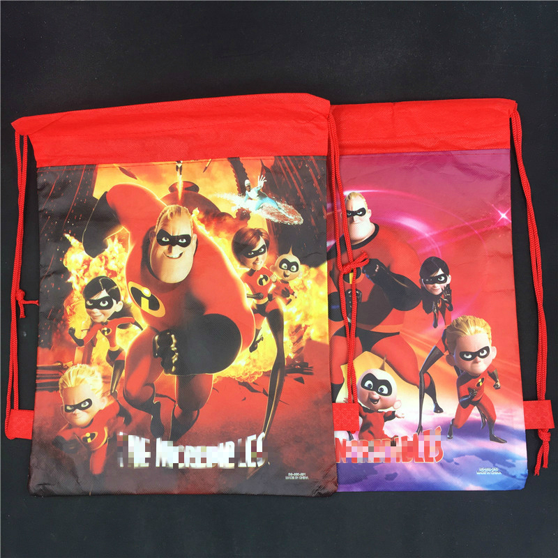 12pcs The Incredibles non-woven bag fabric backpack child travel school Super Dad/Mom/Kids mochila drawstring gift