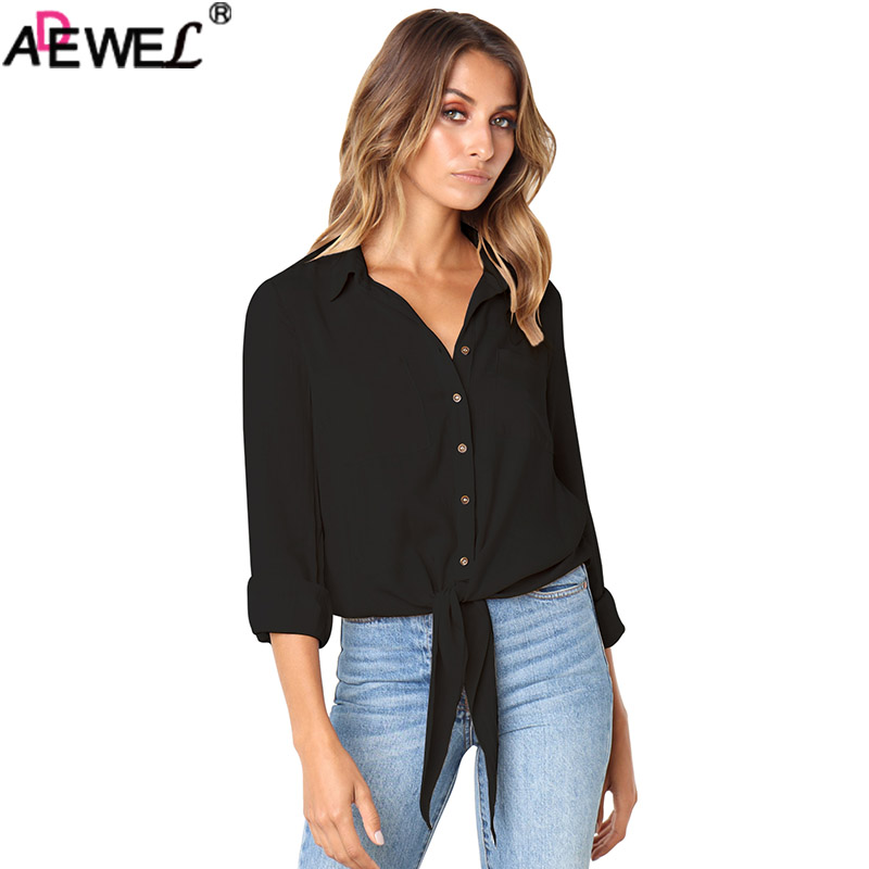 ADEWEL 2018 Fashion Sexy Women Blouse Solid Crushed Linen Cotton Bowkot Button-Down Tops Female Casual Shirt