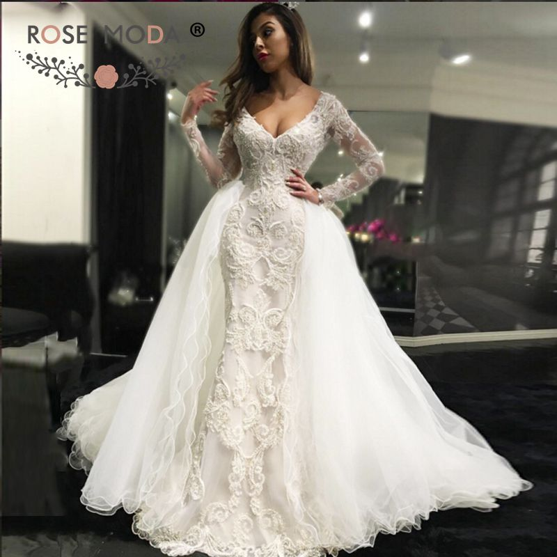 Gorgeous Sheath Column V Neck Long Sleeve Wedding Dresses : Gorgeous plunging v neck long sleeves lace sheath wedding dress with