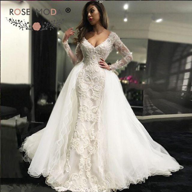Black Wedding Dress With Detachable Train: Rose Moda Luxury V Neck Long Sleeves Lace Sheath Wedding