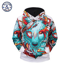 Mr.BaoLong New 2017 Casual Men Unisex Sweatshirts with Hooded Belf Cool Skateboard Wolf 3D Both of Side Printed Couple's Hoodies