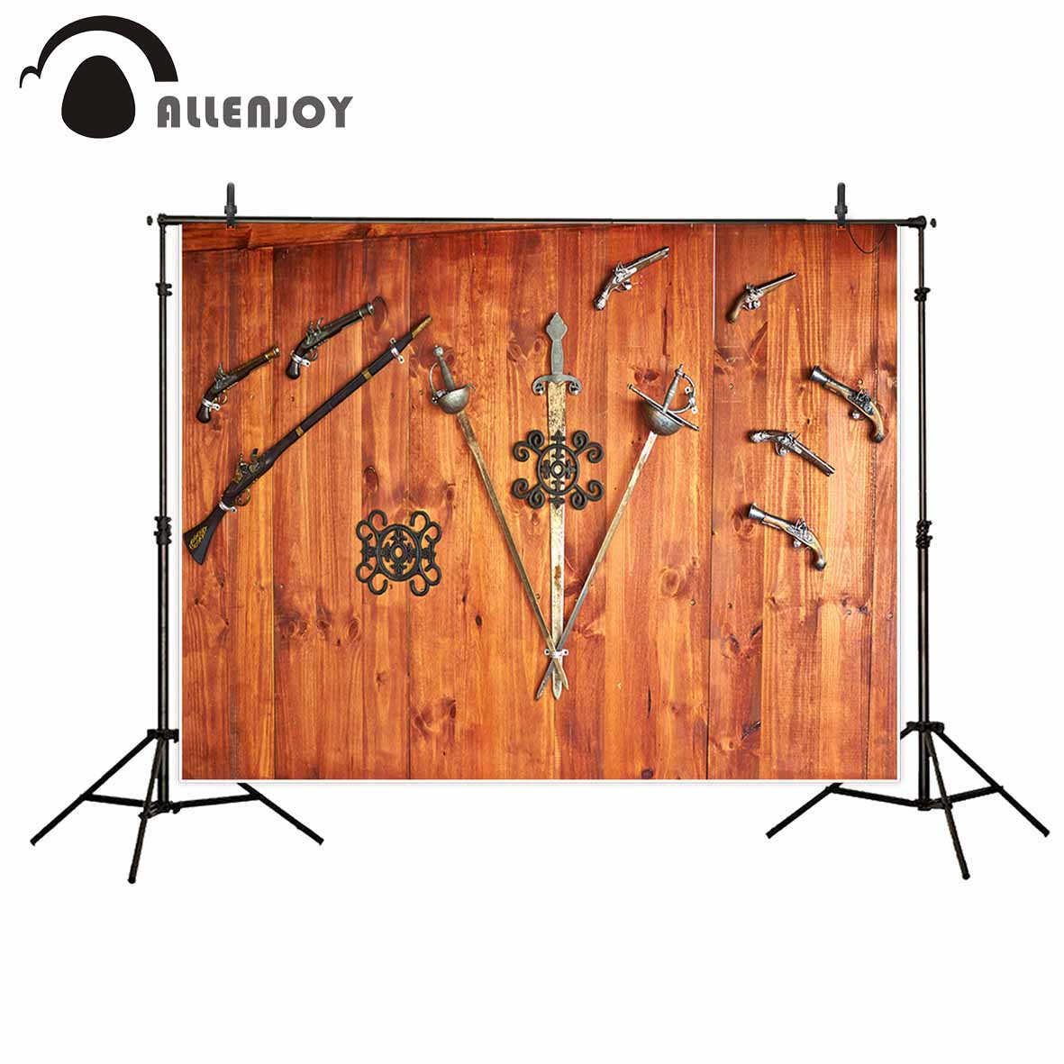 Allenjoy photography backdrops Vintage weapons sword wooden floor metal photo background fond studio photo allenjoy studio photo background vintage colorful flags birthday blue floor photocall vinyl backdrops for photography