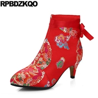 Flower Embroidery Bridal Winter Chinese Lace Up Women Ankle Boots Medium Heel Embroidered Red Satin Wedding