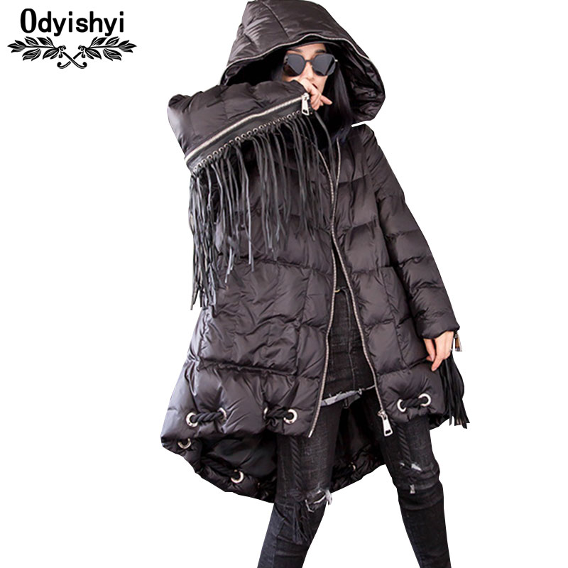Parkas 2019 New Fashion Tassels Thicken Padded Jacket Women Hooded Long Outerwear Winter Down Cotton Coat