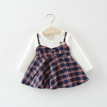 Baby Girls Clothes Long Sleeve Plaid Dress 0-2T