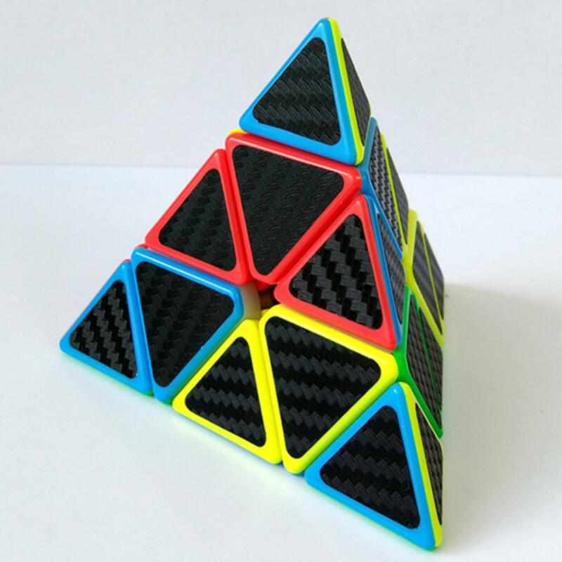 New Pyramid Speed Rubik's Cube Carbon Fiber Sticker Magic Cube Puzzle Toys For Kids Intelligence Development Dropshipping Adult